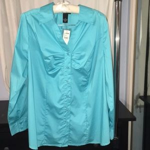 Lane Bryant long sleeve button down with rouching